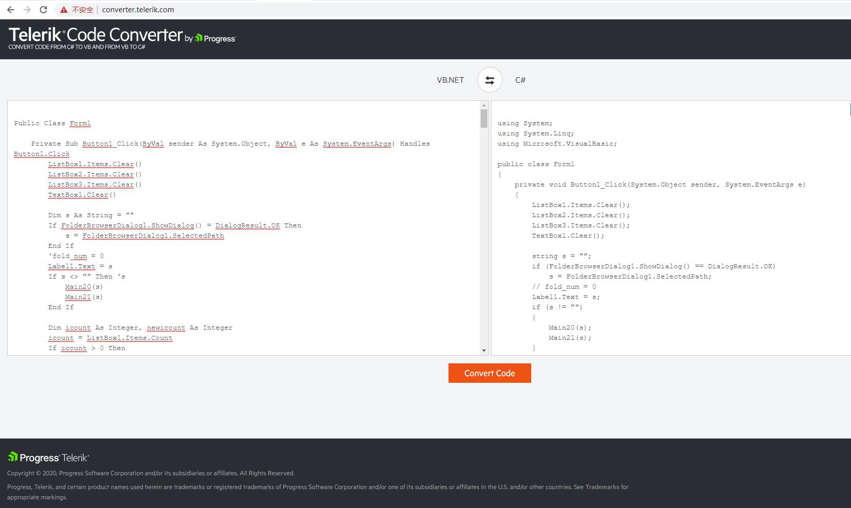 VB.NET代码和C#代码之间转换的方法